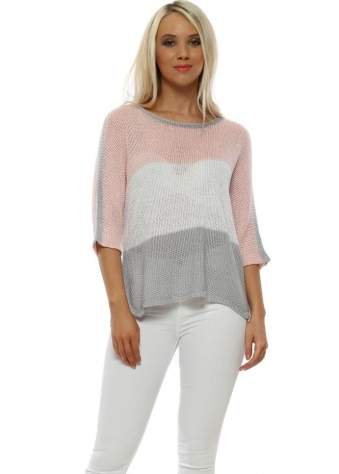 c2cce7fa44603 Pink Colour Block Fine Knit Relaxed Jumper · Made In Italy ...