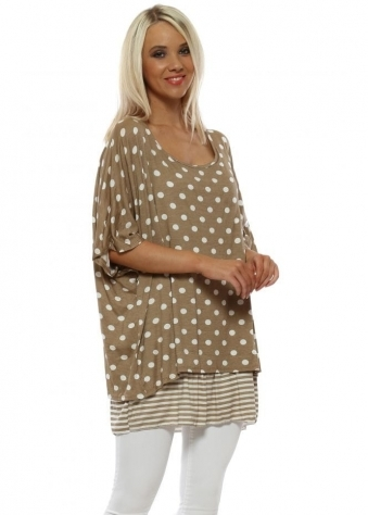 543964031ccd2 Beige Spotty   Stripe Loose Fit Jersey Top · Made In Italy ...