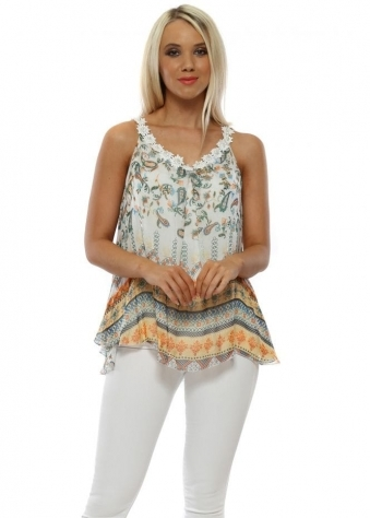 571e725640b14 White Paisley Print Silk Vest Top · Made In Italy ...