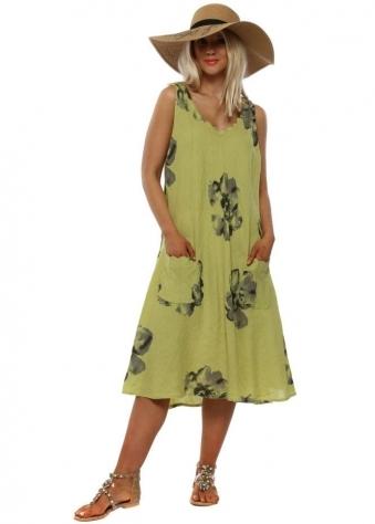 4740b958098 Lime Green Floral Linen Dress