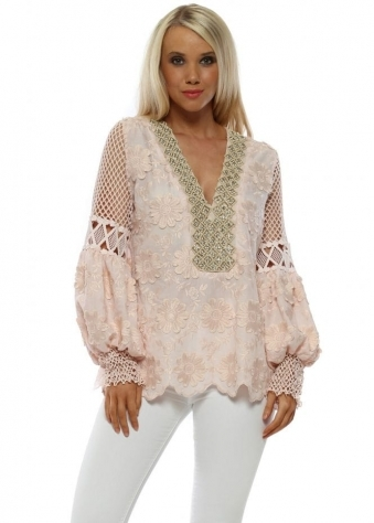 b87b8a314c Pink Floral Applique Beaded Top