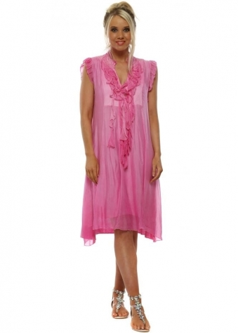 Fuchsia Silk Ruffle Tunic Dress