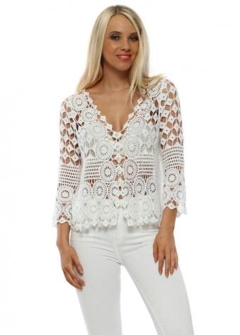 e4da471eb88f5c White Cotton Crochet Pearl Button Cardigan. Made In Italy ...
