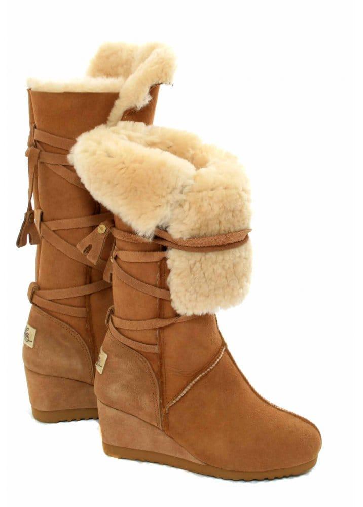 ec798223c73 Love From Australia Wedge Tall Tie Boots Caramel