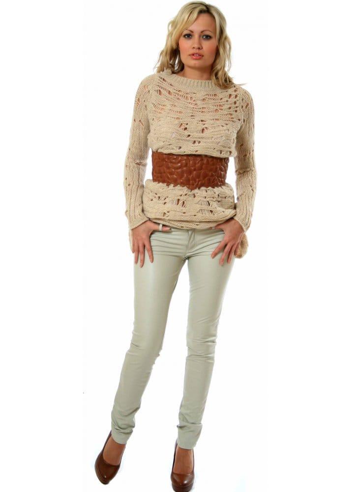 buy online 6b1fa 8ecd4 Pinko Trousers - Involtini Latte Eco Leather Skinny Jeans