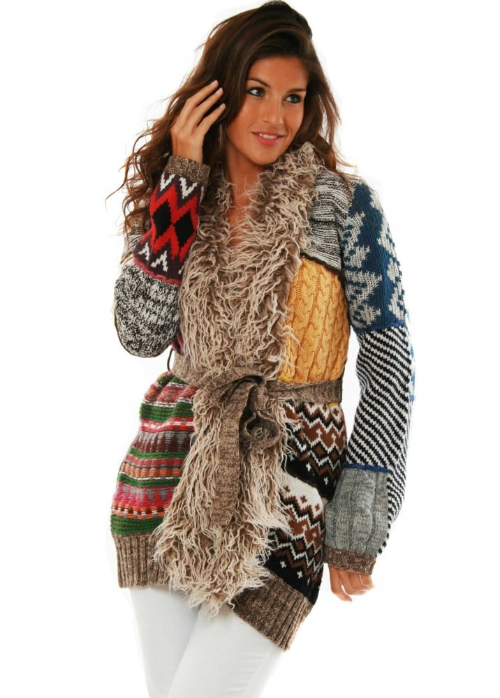 photos officielles 1ab2e cede2 Desigual Cardigan Islandia Patchwork Chunky Knit Jacket