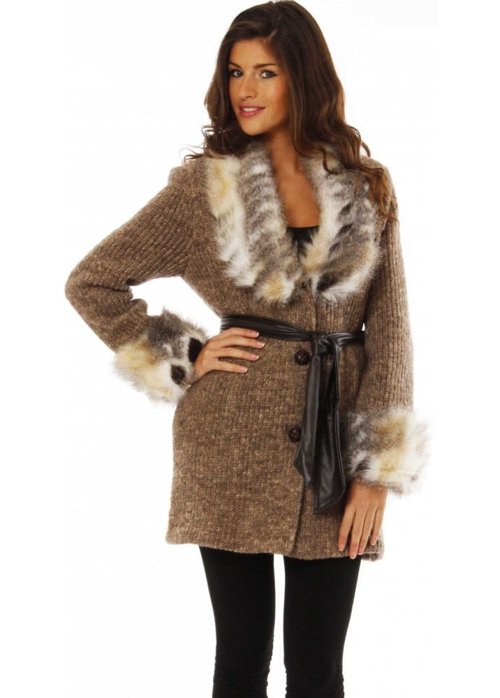 Trim Abrigo Fur Chunky Cardi Knit Faux Natural SSTxzf