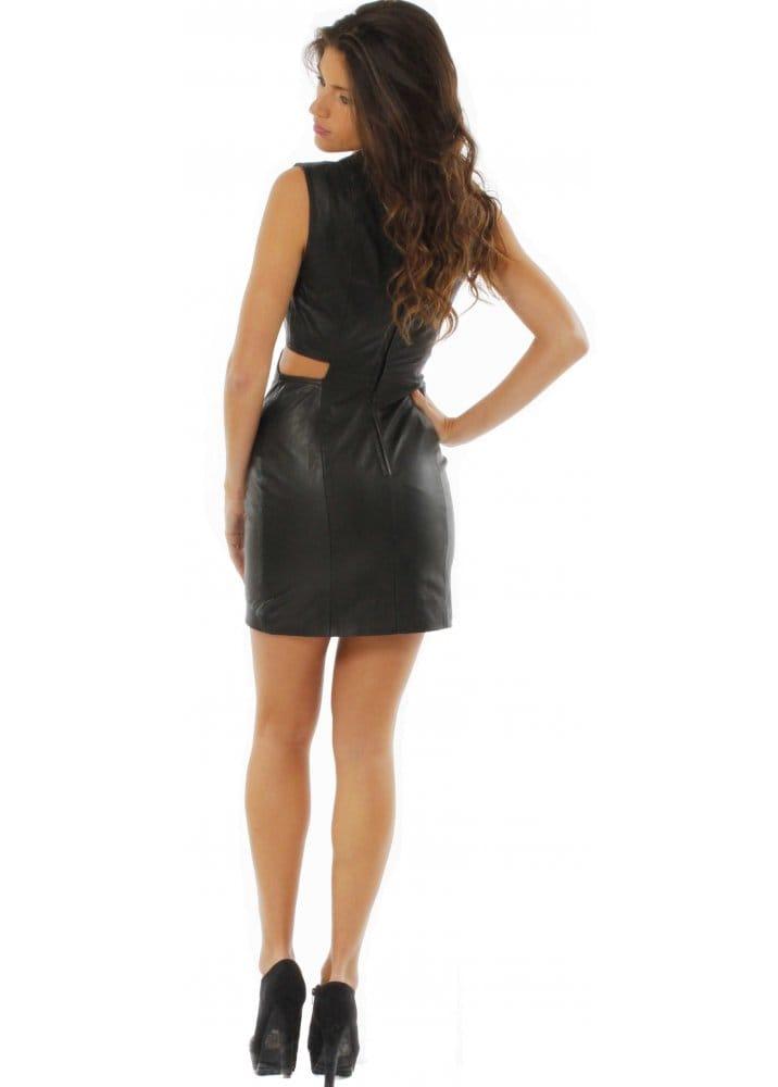 c2466a40b164 Gestuz Black Leather Cutout Dress | Gestuz Leather Mini Dress | Buy ...