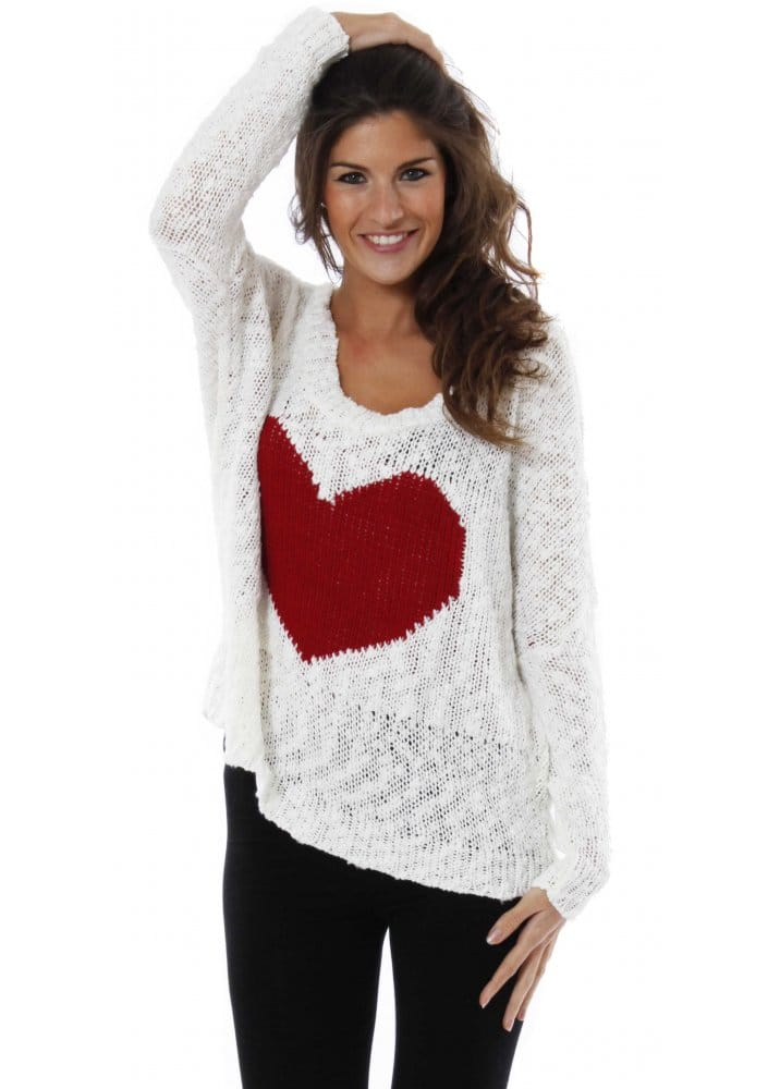 Love Heart Oversized Jumper In Love With Fashion Heart