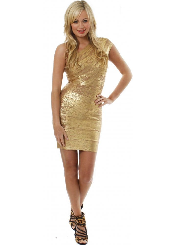 78b4c155fae Dress Patricia One Shoulder Metallic Gold Bandage Dress As Seen On Amy  Childs