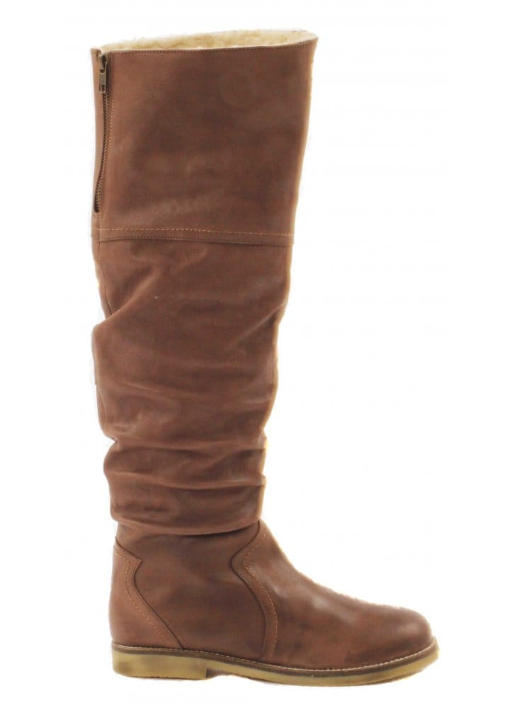 73c9691ef90 Boots Ruched Brown Leather Flat Riding Style Boots