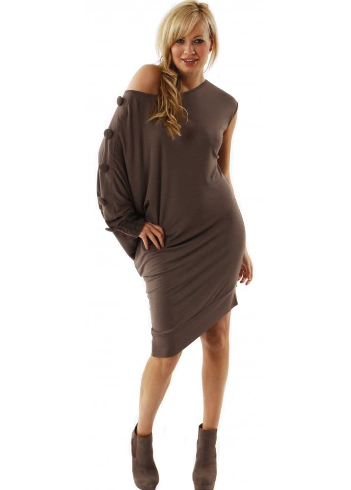 hot-selling latest best sneakers authentic Designer Desirables Dress Jersey Knit Collar Taupe Jumper Multiwear Dress