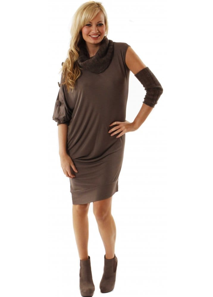 fd273715c6d Dress Jersey Knit Collar Taupe Jumper Multiwear Dress