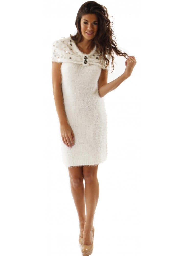 Dress Fluffy Knit Cape Shoulder Winter White Dress ab54ee469
