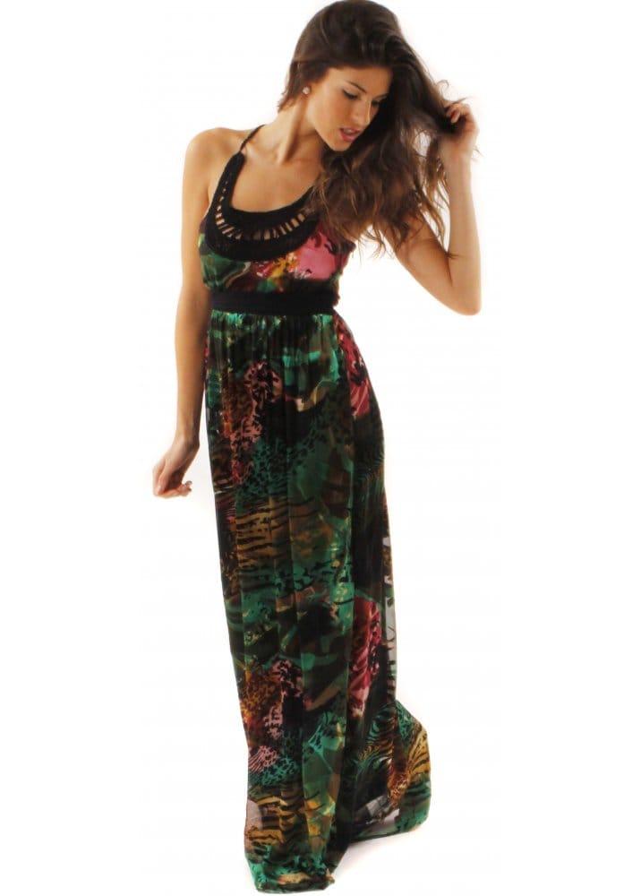 Nonpa Maxi Dress Animal Print Silk