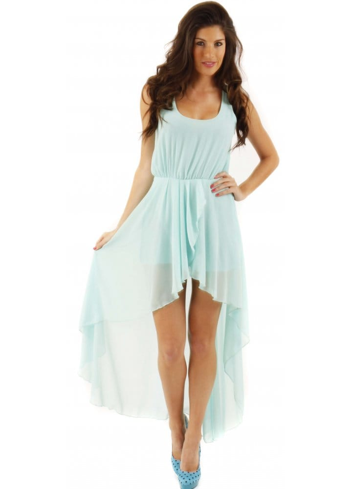 51fa65165d6 Love Dress Hi Low Aqua Chiffon Asymmetrical Maxi Dress