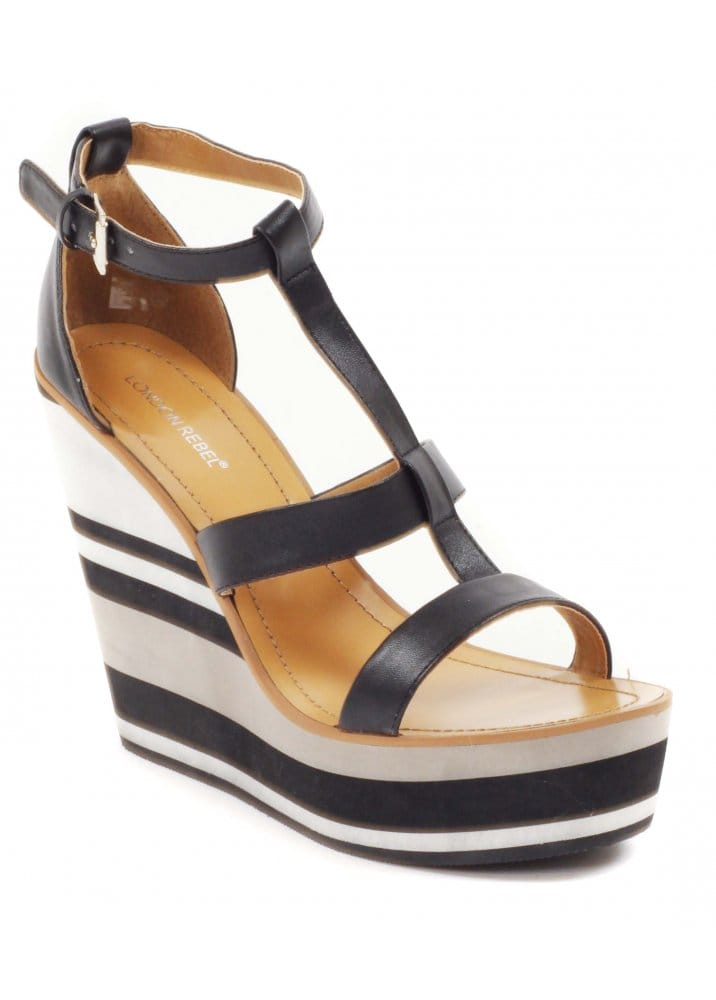 3cc9496d7d1 London Rebel Shoes Stripe Heel Black Strappy Wedge Sandals