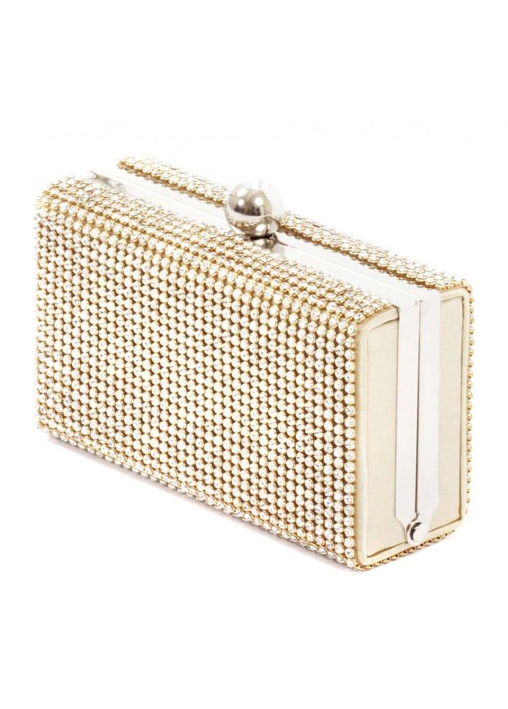 Bag Crystal Embellished Gold Clutch Mini Box Evening