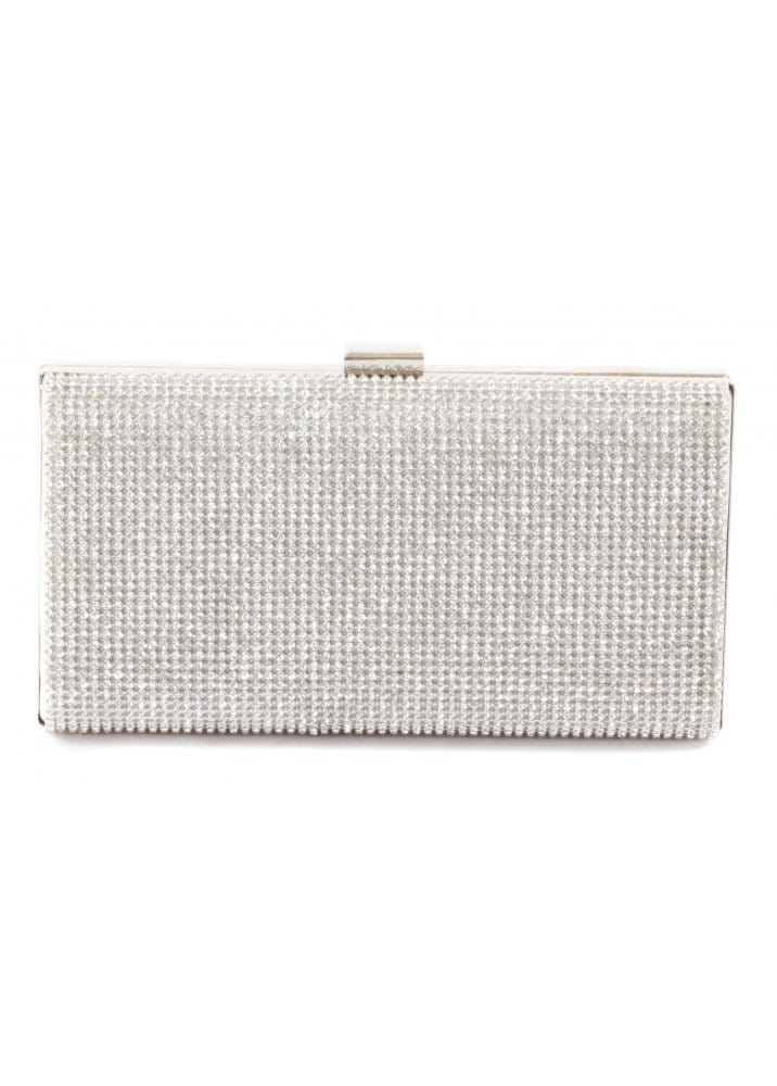 f008ab566d2e Bag Crystal Embellished Metallic Silver Clutch Large Box Evening Bag