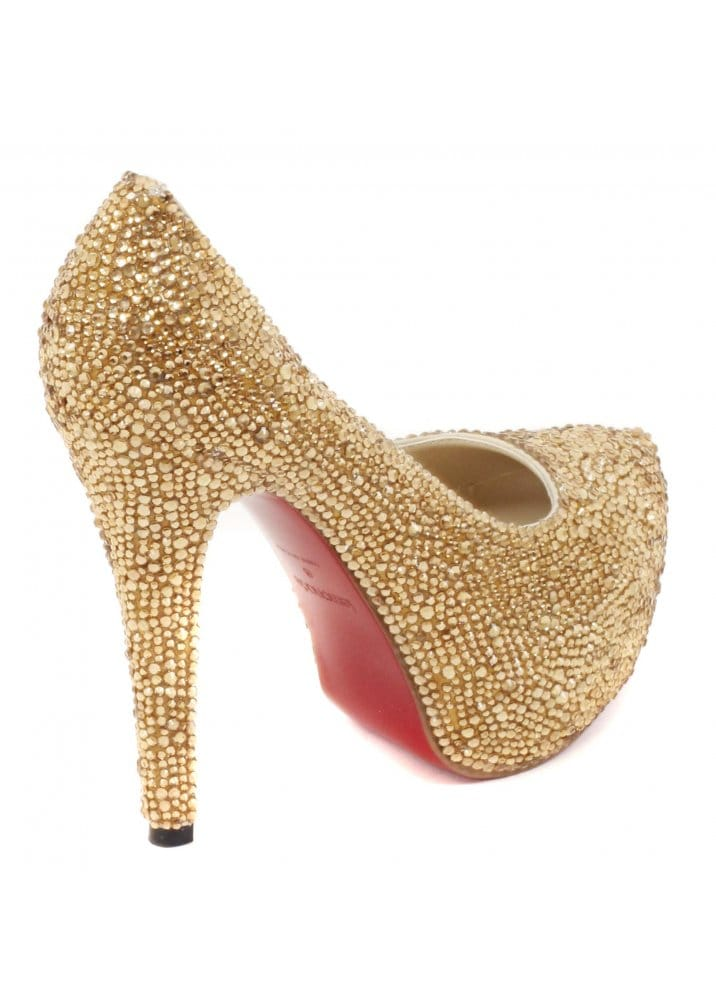 88327650a Shoes Gold Crystal Couture Glitzy High Heel Pumps