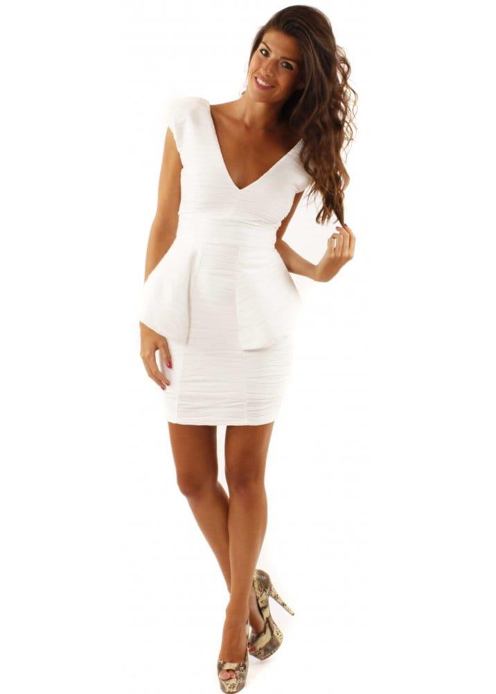 58a270fd59b Peplum Dress White Ribbed Low V Bodycon Mini