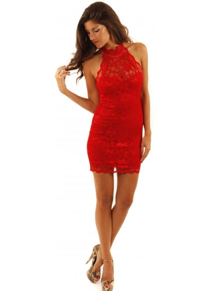 Lili London Red Lace Dress Lili London Backless Lace