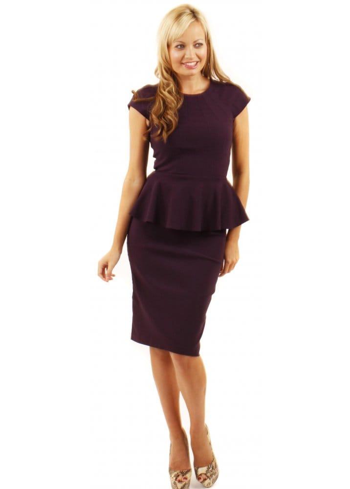 16524579581 Laguna Dress Aubergine Peplum Pencil Dress