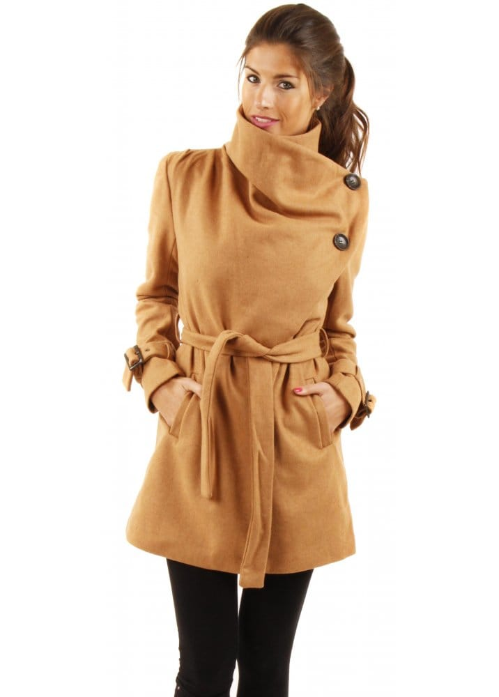 Ichi Tan Belted Coat Ichi Coats Women S Winter Coats