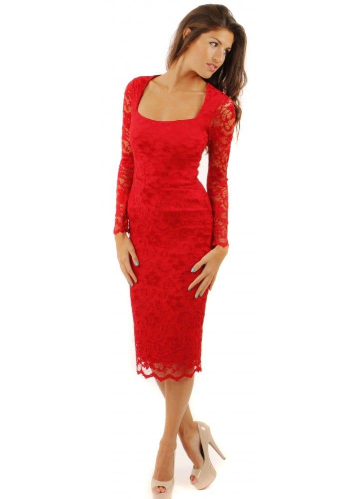 124f1fdb9bf Red Maui Stretch Lace Pencil Dress