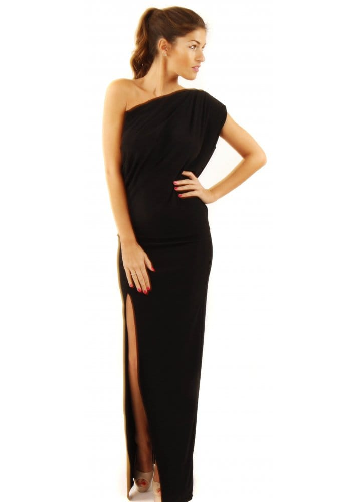 141070753f Honor Gold | Angelina Black Maxi Dress | One Shoulder Black Maxi Dress