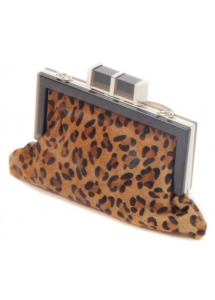 Leopard Print Pony Skin Clutch Bag