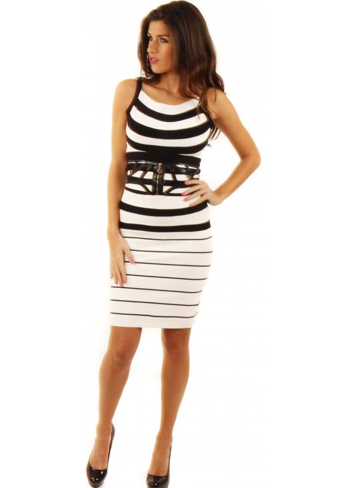 85d751518d46c8 White Bodycon Dress | White & Black Striped Bandage Dress