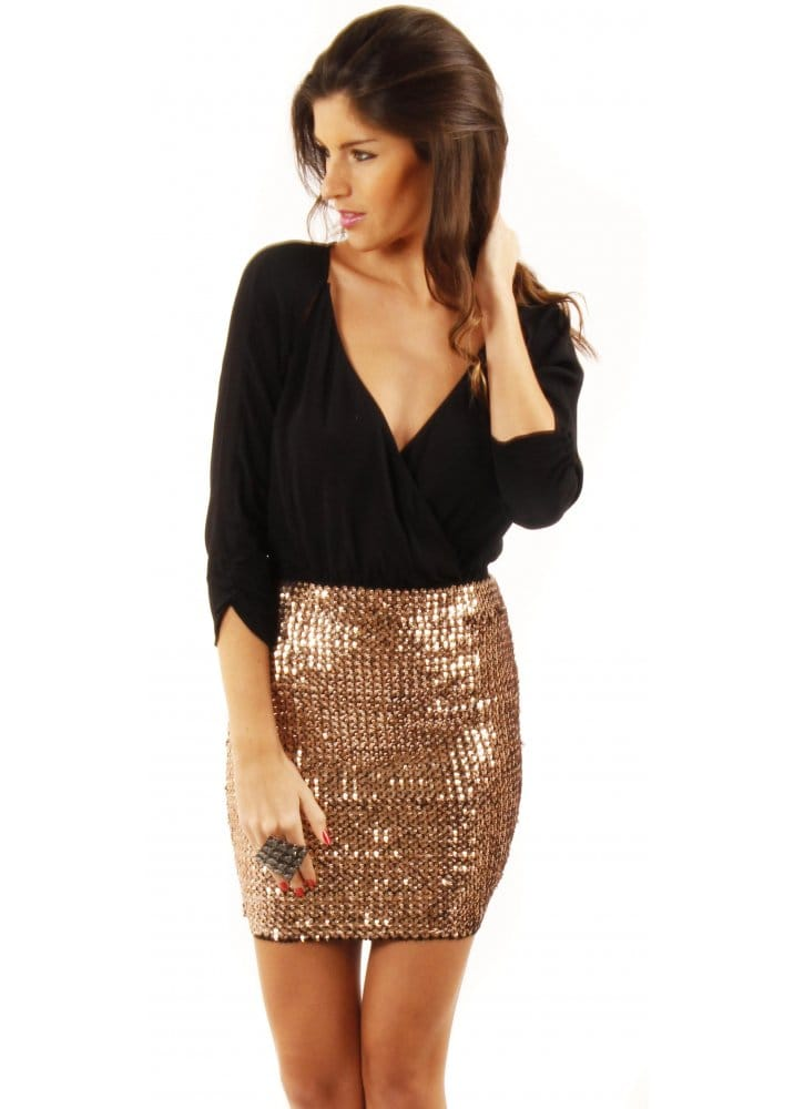 f5532cb765da Bodycon Mini Skirt | Bronze Sequin Mini Skirt | Shop Mini Skirts