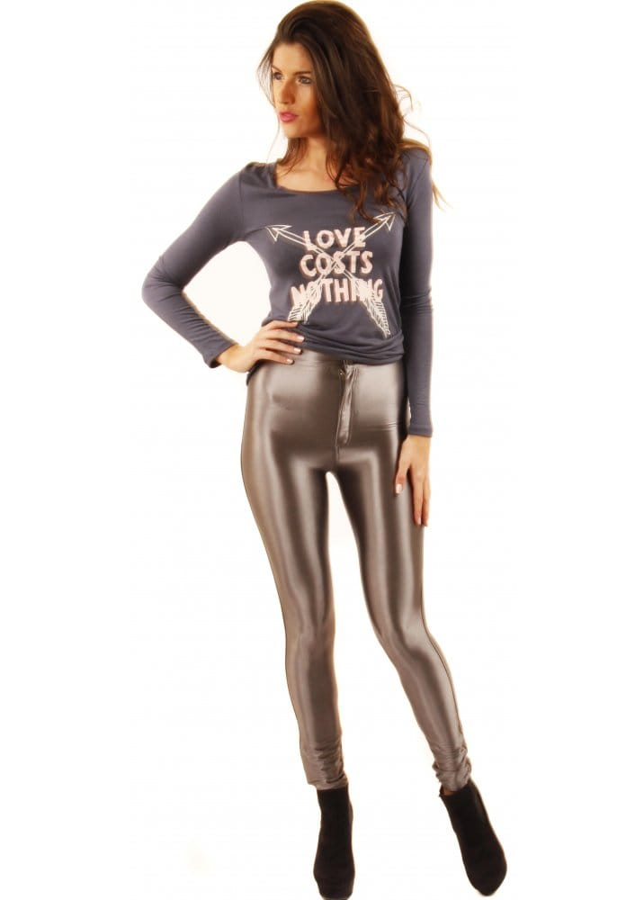 095d151d45a7f2 Silver Disco Pants | High Waisted Silver Shiny Disco Pants | Silver ...