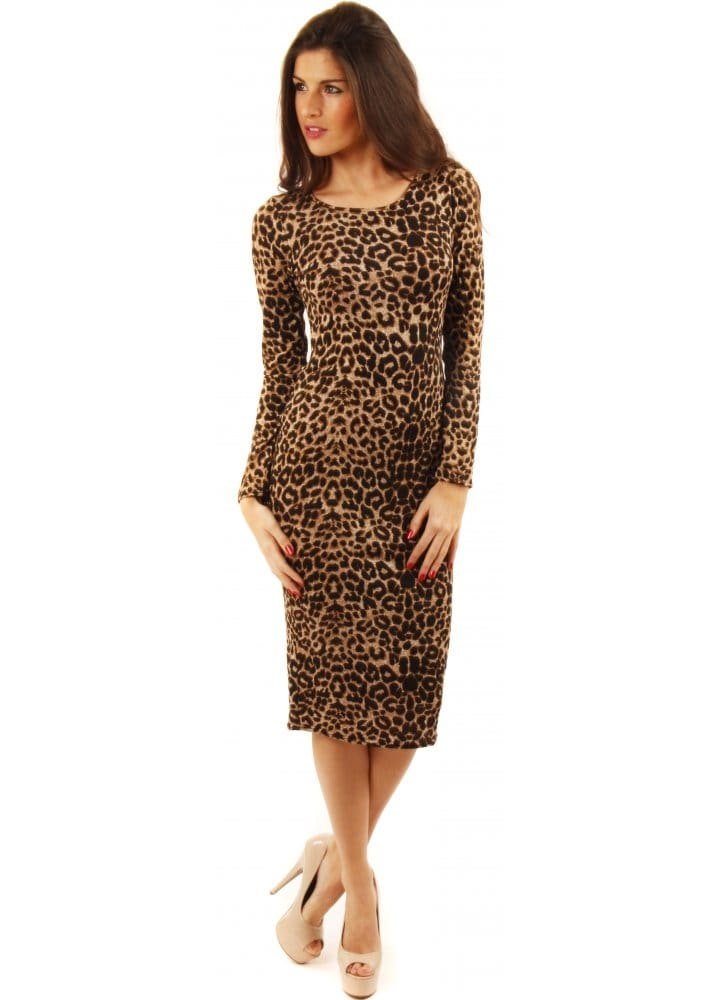 f8ce51555a4e Leopard Print Long Sleeved Midi Dress