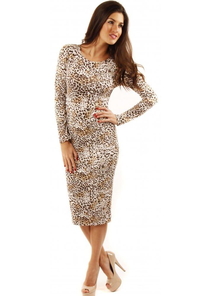 Cheetah Print Midi Dress Bodycon Pencil Dress Shop Dresses