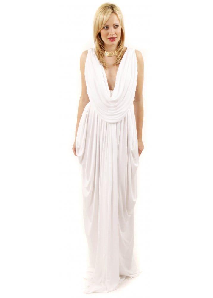 Join Grecian Dress | White Grecian Drape Dress | White Evening Dress