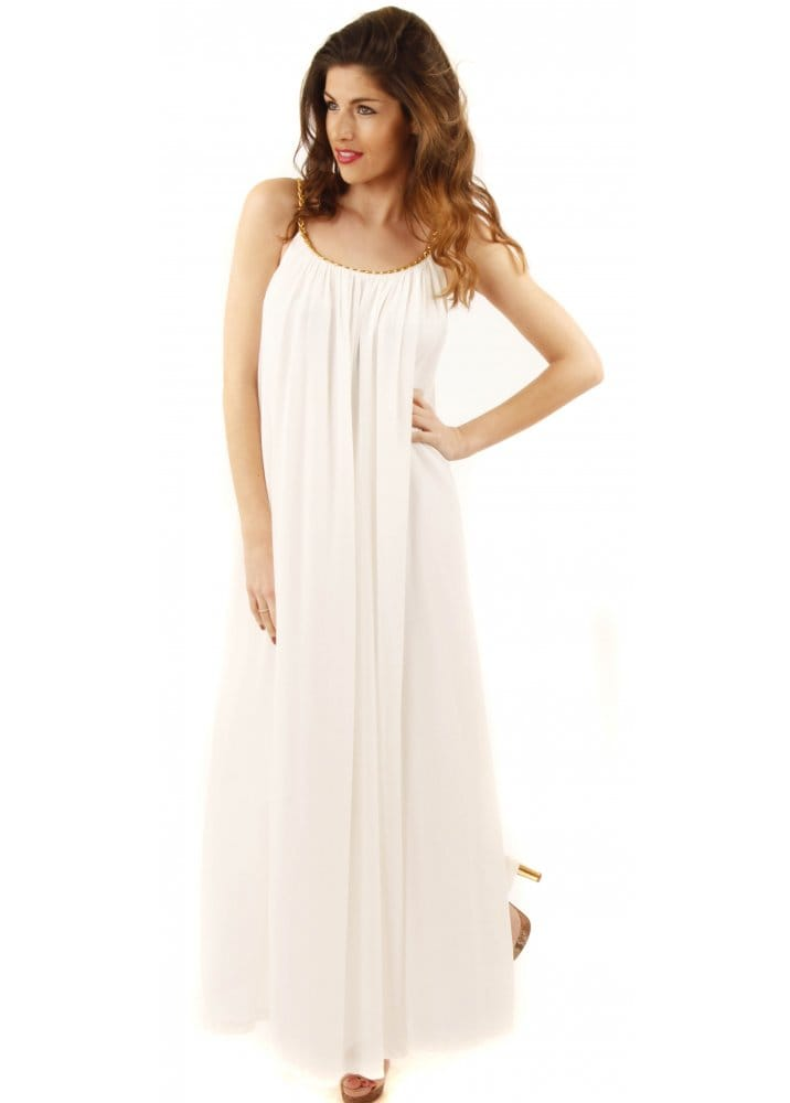 b317f4ac5e White Grecian Maxi Dress With Plaited Gold Rope Straps