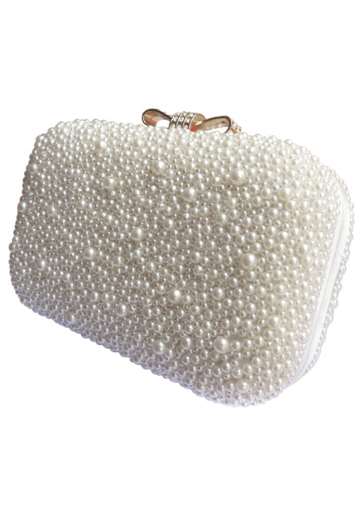 Ivory Pearl Clutch Bag With Diamante Bow Clasp