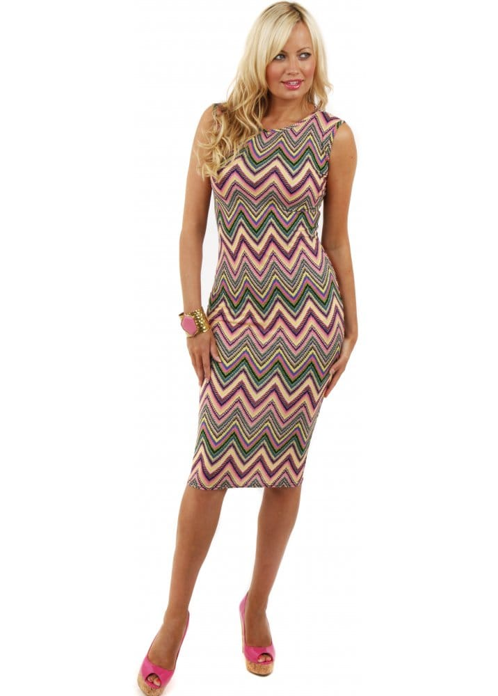 9b265e3fc64f Midi Dress | Pink Zig Zag Print Pencil Dress | Cheap Midi Dress