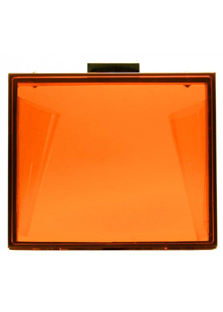 Box Style Neon Orange Crystal Perspex Clutch Bag