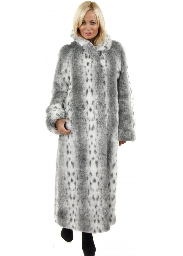 Marble Marble Full Length Fur Coat Grey Lynx Print