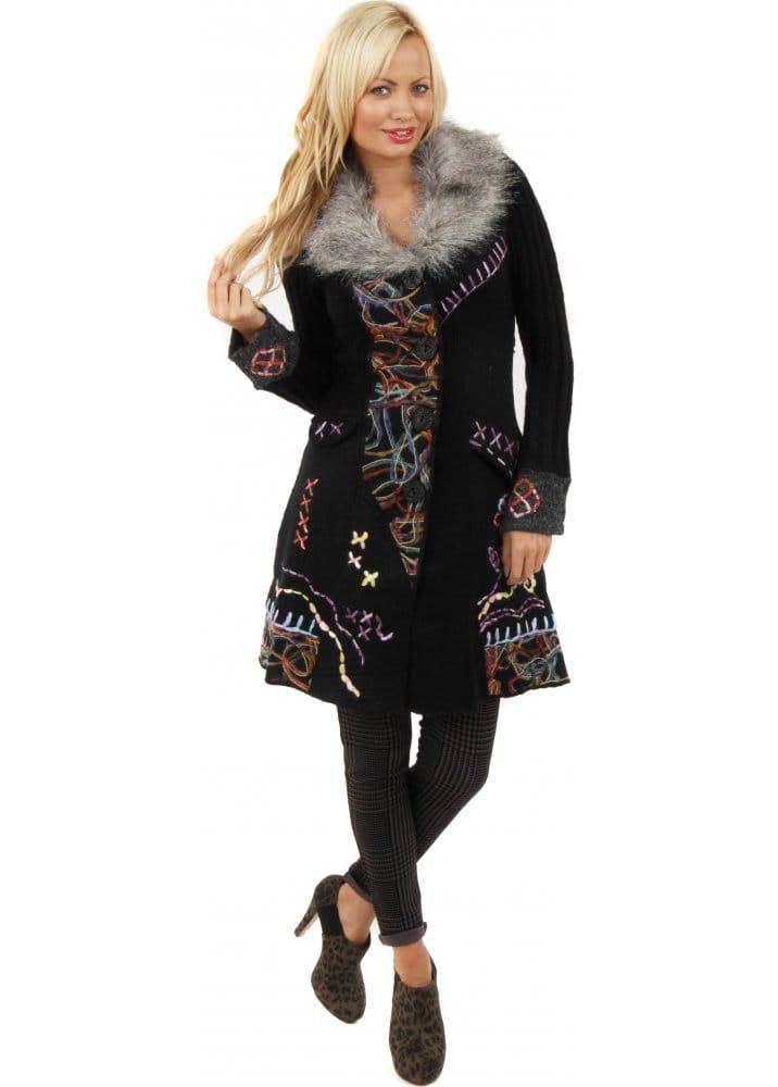 fe940bb395f Stella Morgan | Cardigan | Knitted Cardigan Coat | Faux Fur Cardigan