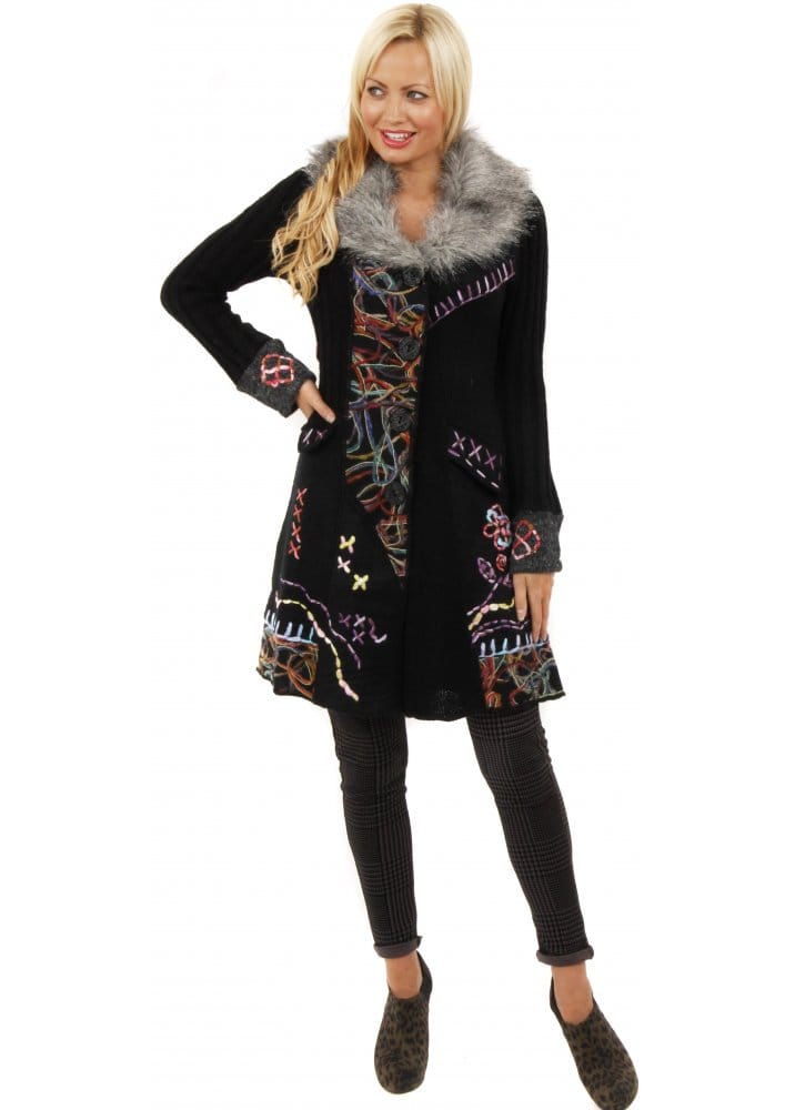 Faux Fur Collar Black Tapestry Wool Cardigan Coat 48f7de7eb