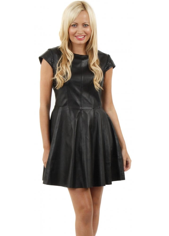 d55ffb8ae79c Soft Black Leather Fit  amp  Flare Skater Dress