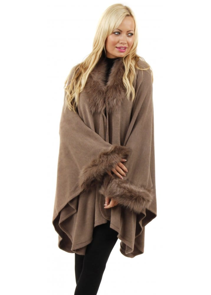 Urban Mist Poncho Brown Faux Fur Poncho Knitted Cape