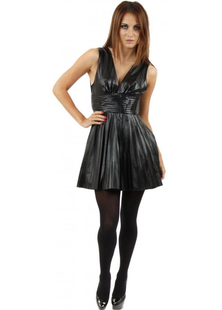 79699d5b65 Black Faux Leather Pleated Mini Skater Dress