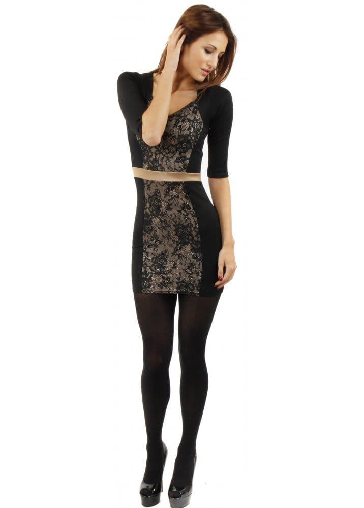 Lace Panel Black Body Fit Mini Dress
