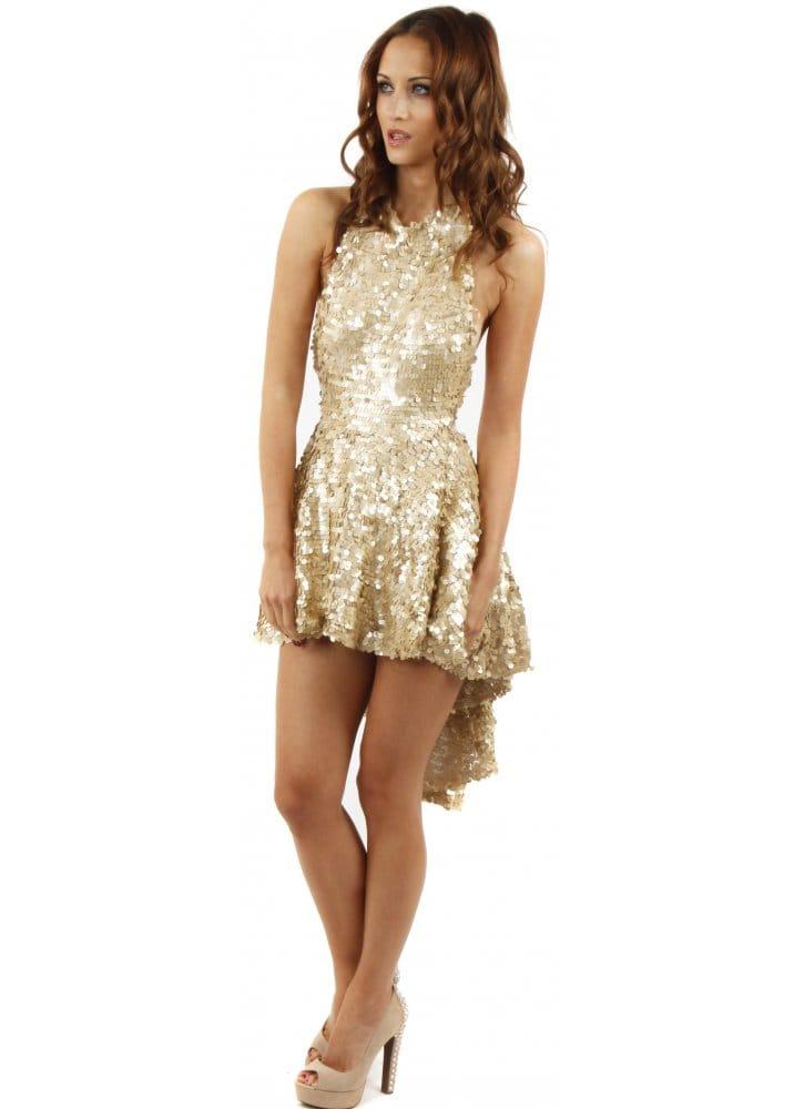 7f892491db88 Spirit Gold Sequin Backless Skater Dress With Dip Hem