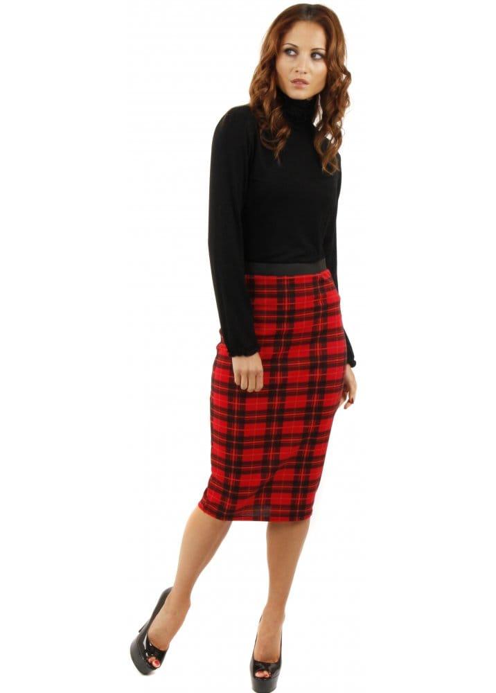 Red Tartan Midi Skirt   Tartan Skirt